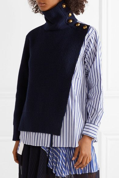 Sacai Cotton Poplin and Wool Sweater