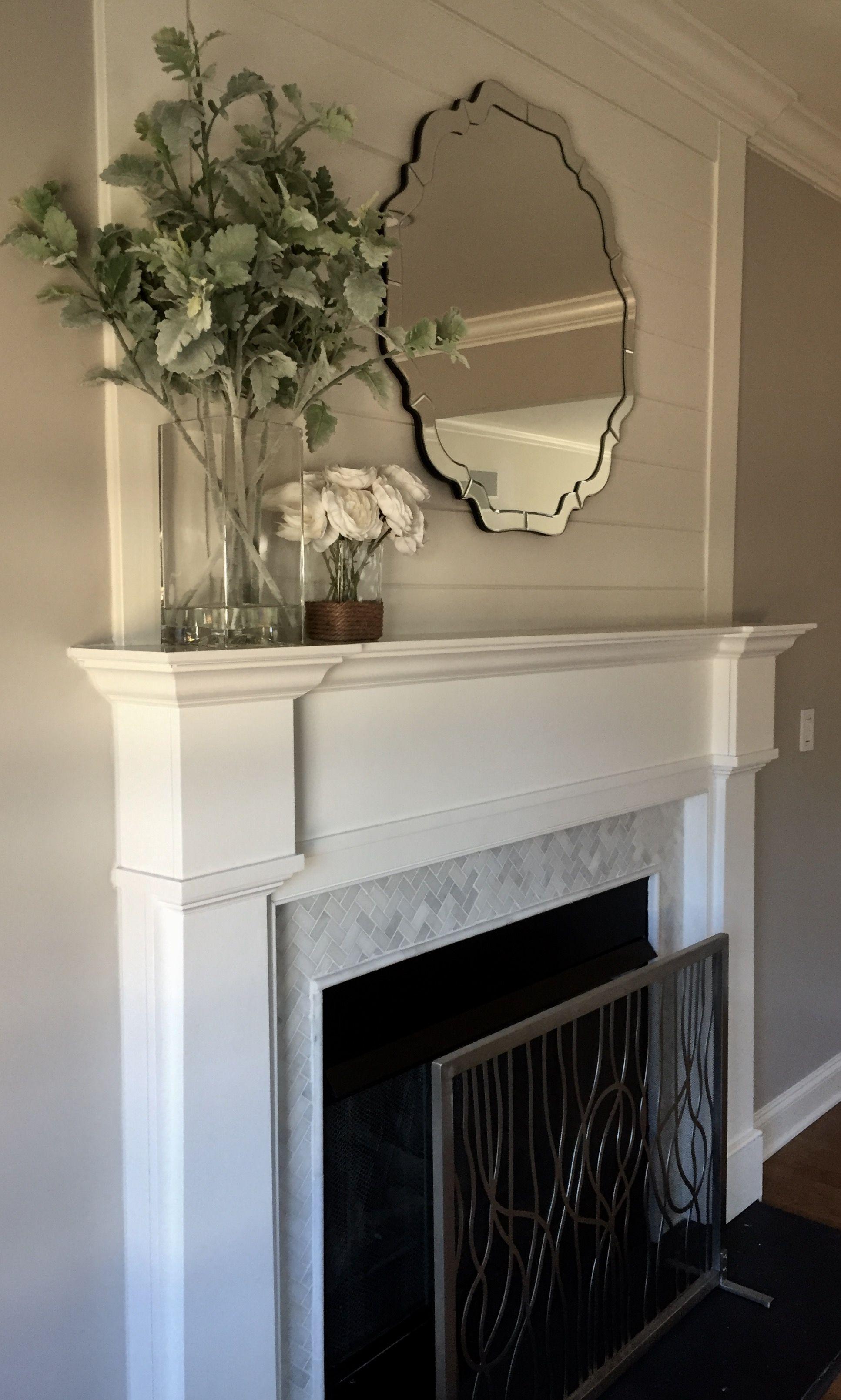 fireplace grey marble chevron tile shiplap and white mantel