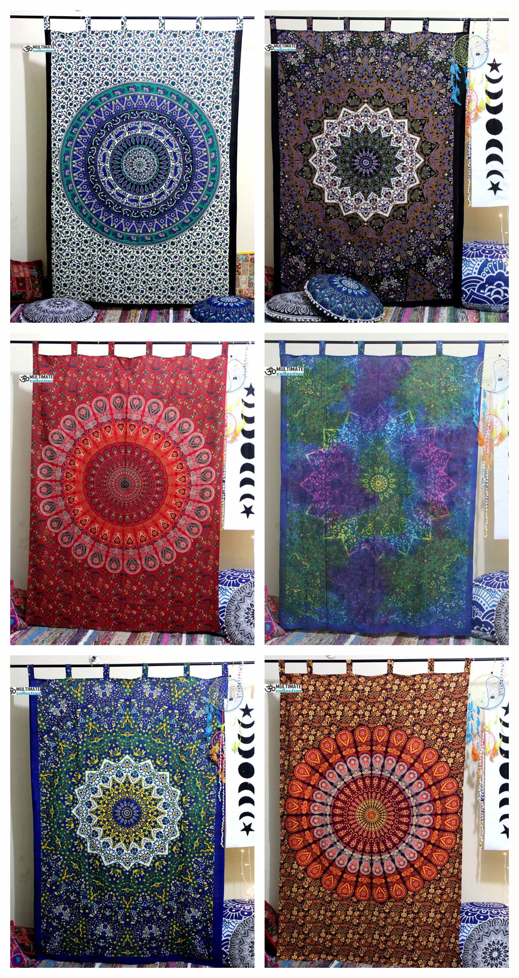 Indian Trippy Mandala Hippie Tapestry Curtains Drapes Door