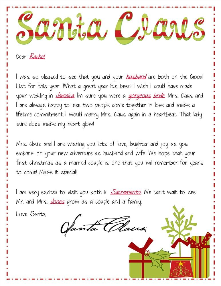 Send Newlyweds a Santa Letter how special for their first
