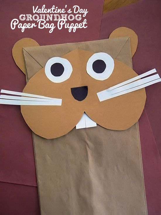 Photo of Valentine's Groundhog Paper Bag Puppet