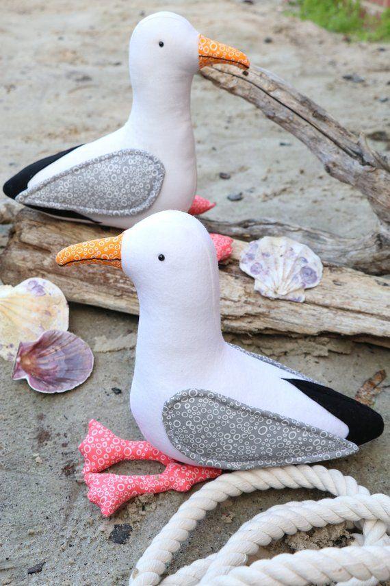 Gary & Glen, seagull plush sewing, seagull pattern, bird plush,bird softie, seagull plush, seagull softie, felt pattern #stuffedtoyspatterns