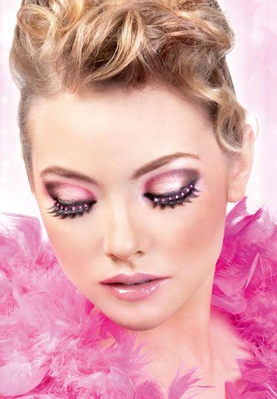 Black-Hot Pink Rhinestone Eyelashes