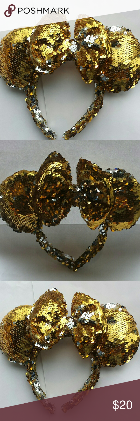 Disney Inspired Minnie Mouse Ears Gold Sequins This is a new unique  beautifully handmade Minnie Mouse fa19d130f8c9