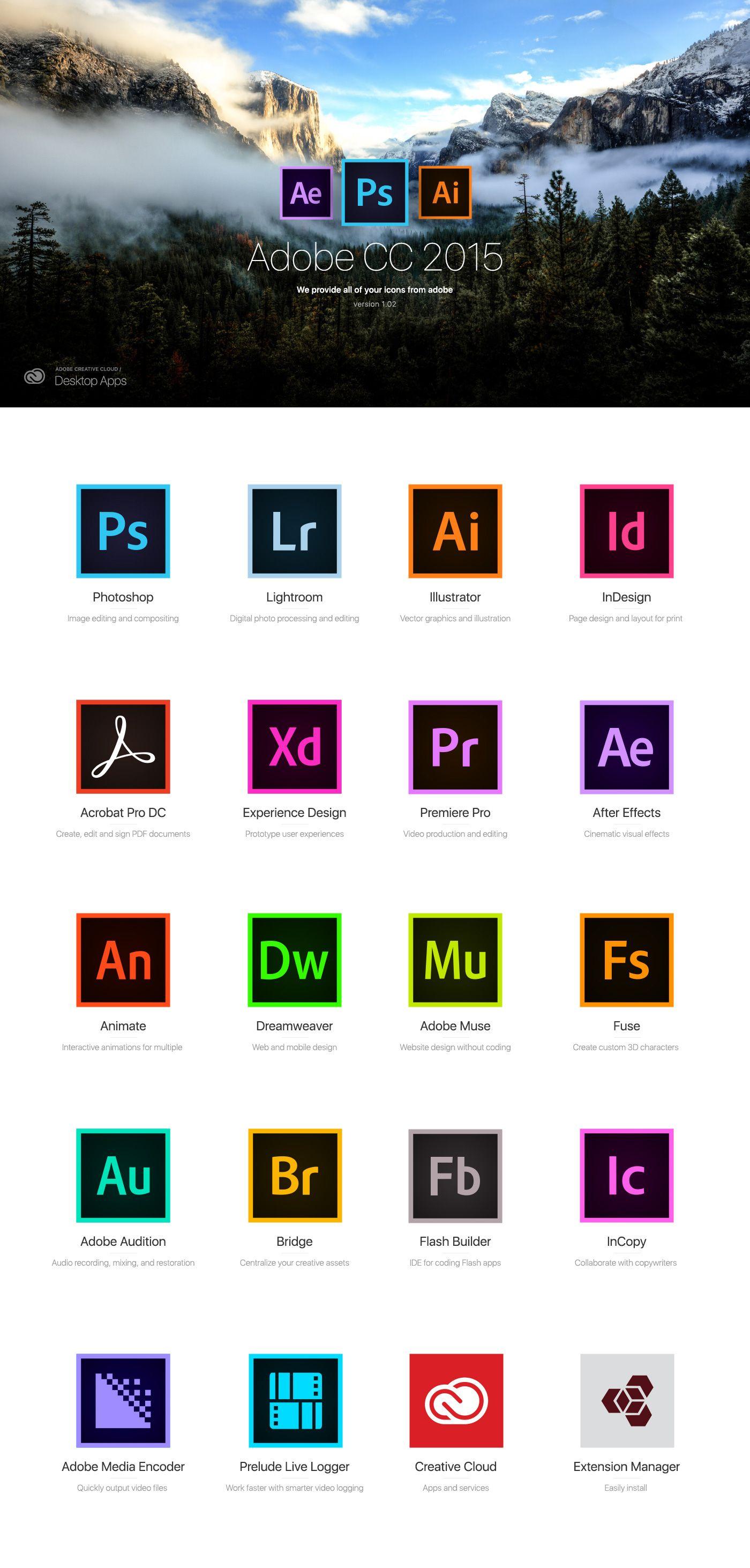 Adobe icon CC 2015 Free on Behance (มีรูปภาพ) การออกแบบ