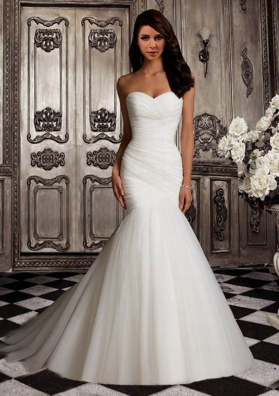 Pleated Trumpet Mermaid Sweetheart Court Ruching Wedding Dress Perfecttion Com Simple Bridal Dresses Ruched Wedding Dress Cheap Wedding Dress