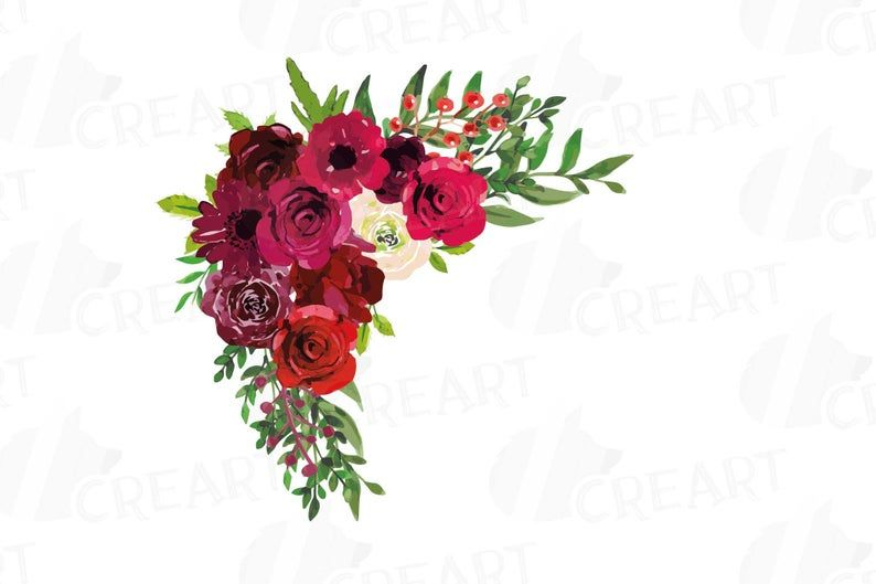 Boho Burgundy Red Watercolor Clip Art Floral Bouquets Bordo Flowers Burgundy Flowers With Green Leaves Wedding Clip Art Png Vectors Watercolor Clipart Floral Art Clip Art