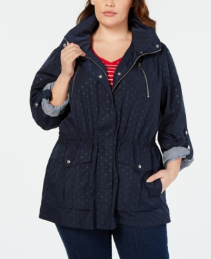 b808b63135d9f Tommy Hilfiger Plus Size Printed Utility Jacket, Created for Macy's - Blue  1X