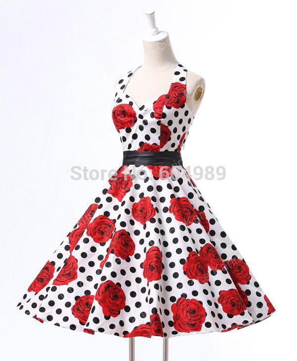 4f5a9e282b 40s 50s 60s Pinup Rockabilly Retro Vintage Swing Dress Audrey ...