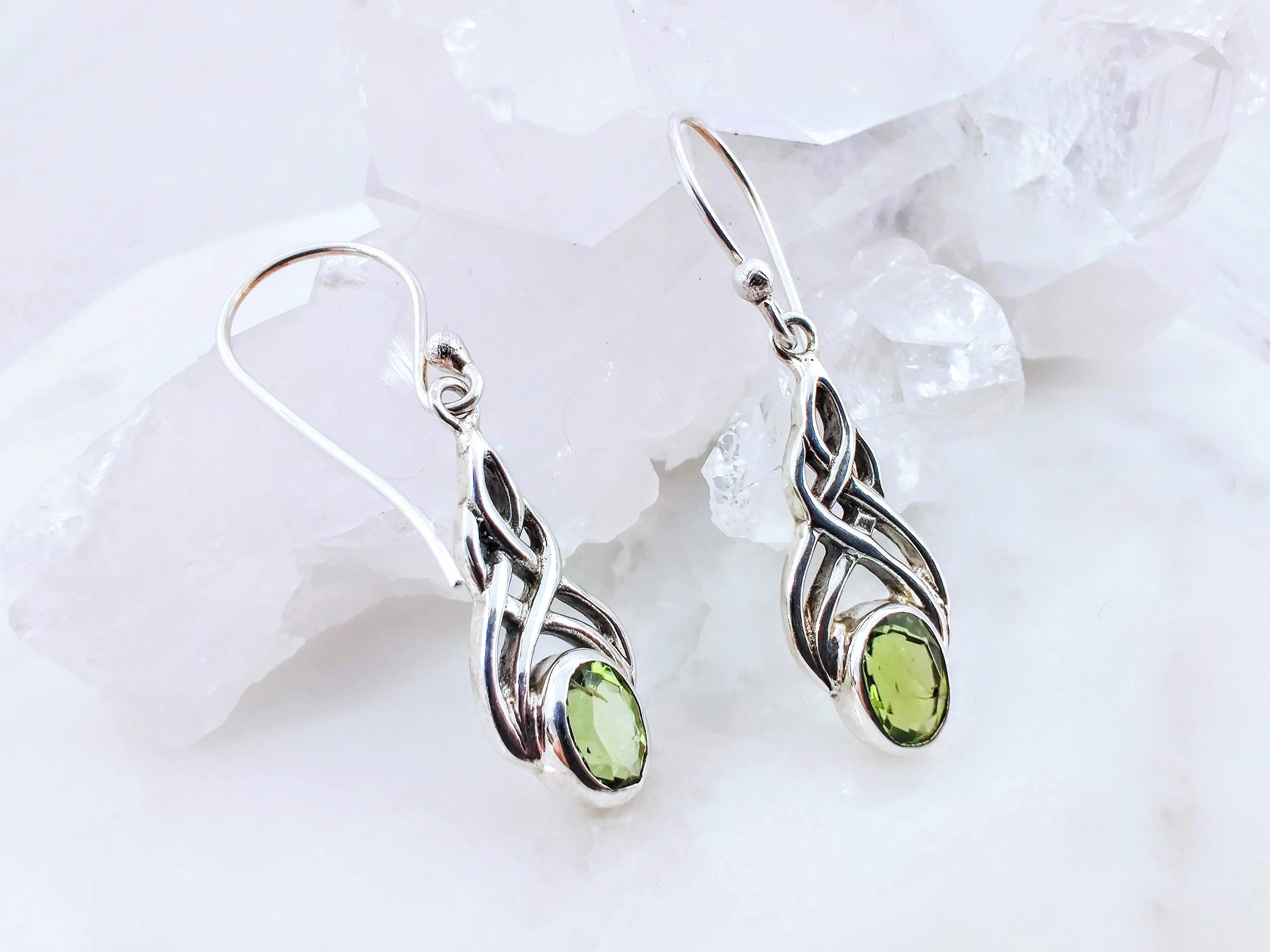 Celtic Design Sterling Silver Earrings with a Peridot Gemstone