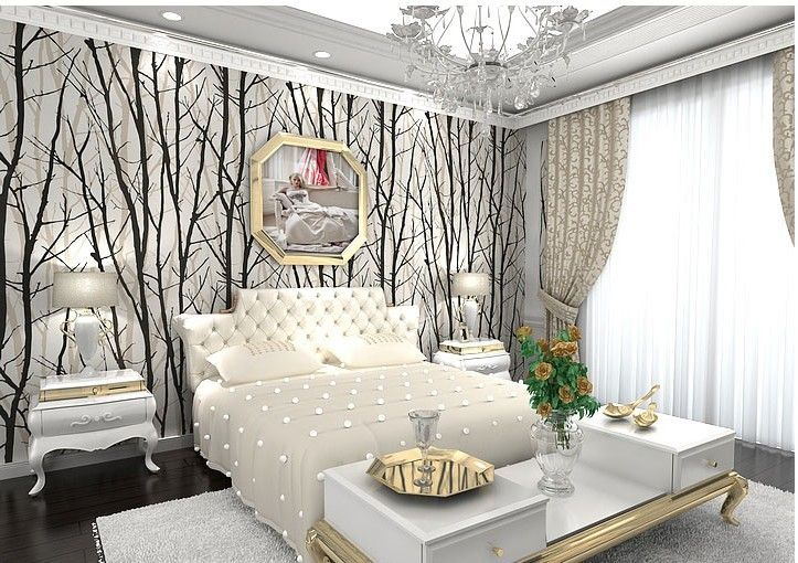 PVC 3D Wall Murals Wallpaper Woods Tree Pattern Striped Papers Living Room TV Background