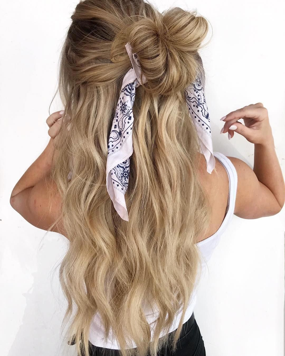 20 Easy Summer Hairstyles You Can Copy Right Now In 2020 Bandana Hairstyles For Long Hair Hair Styles Easy Summer Hairstyles