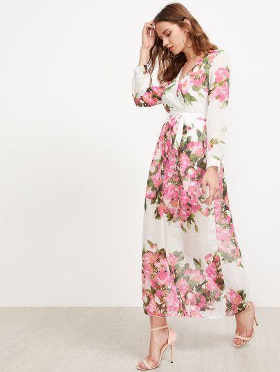 cfc4374ea7 Vestido de gasa con estampado floral -Spanish SheIn(Sheinside ...