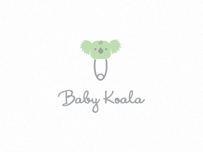 Style #16, Iconography #8 - I really like this script font. I like the space between the text and the icon. I like the muted colors. The pin gave me an idea, as an icon in the same style of this, you could sub the pin for a hair clip. Sub the koala's head for a flower. Simple, clean, symmetrical. Provides a good stand alone logo as well. keep the clip the same color as the logo, neutral. Bring the real color in with the flower. 2 colors there probably, no more or it may lose the effect.