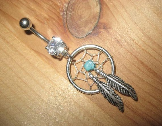 Dream Catcher Belly Button Rings Belly Button Jewelry Turquoise Feather Dream Catcher Ring Stone