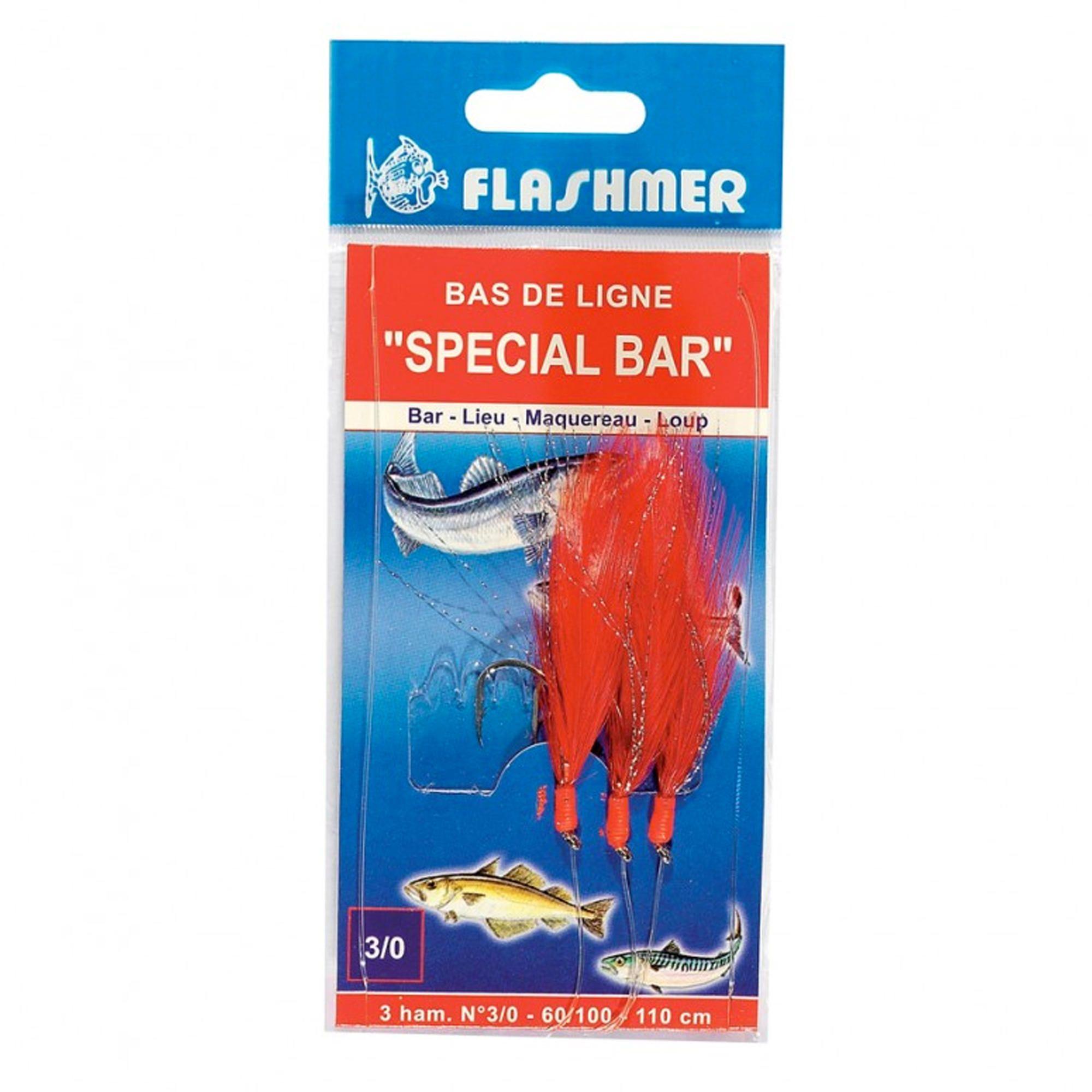 Flashmer - Hengelsport - Verenpaternoster - Lepels/veren zeehengelen Special baars rood nr. 3/0 x3. Deze gemonteerde lijn is ontworpen om te vissen op baars en andere zeeroofvissen.