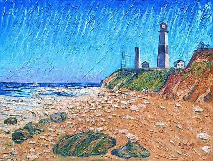 'leuchtturm auf dem küste', 1958 von David Burliuk (1882-1967, Ukraine)