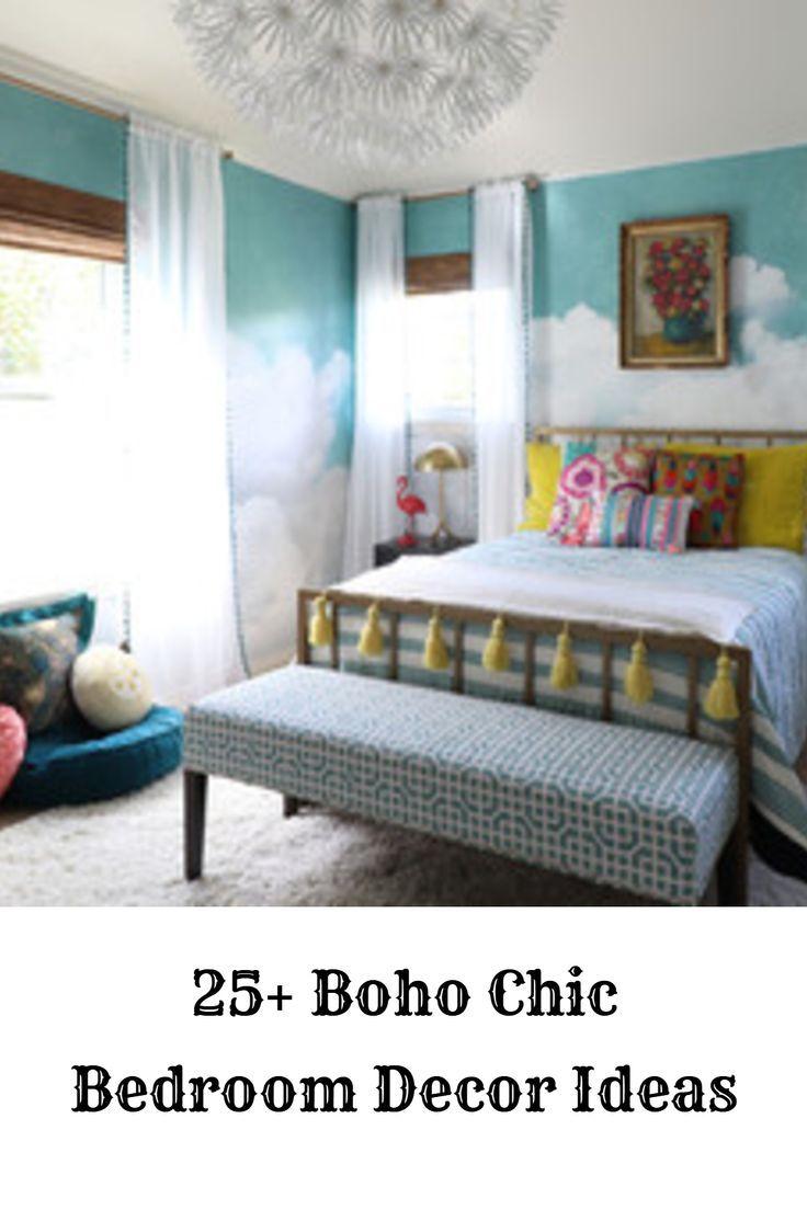 25+ boho chic bedroom decor ideas - colorful bohemian cozy bedroom | boho chic bedroom decor