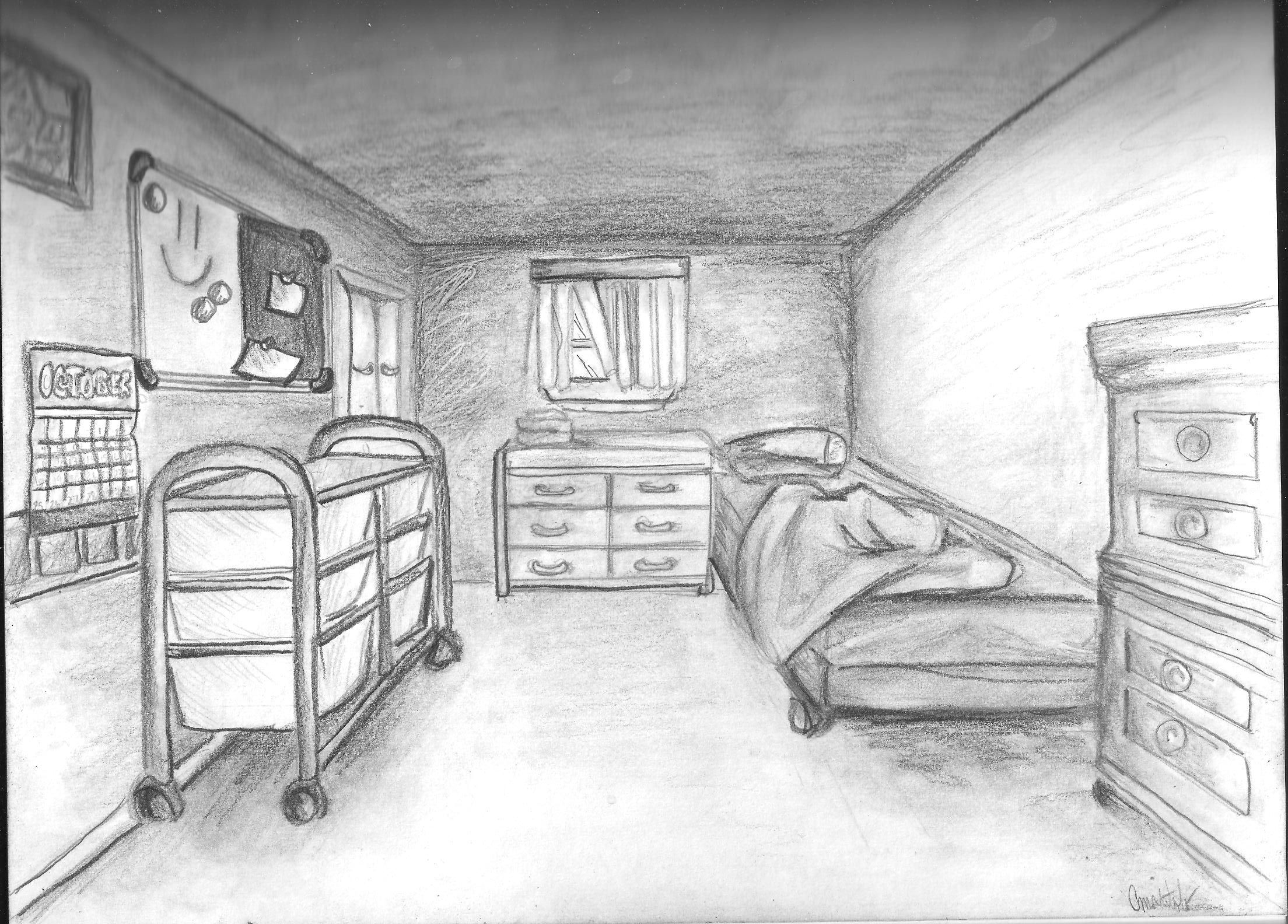 Bedroom drawing perspective - Waldorf 7th Grade Perspective Drawing One Point Perspective