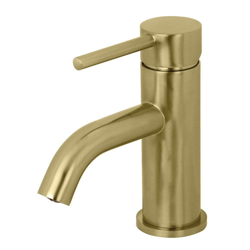 Kingston Brass Contemporary Single Hole Single Handle Bathroom Faucet In Brushed Brass Yls8223dl The Home Depot Single Hole Bathroom Faucet Bathroom Faucets Kingston Brass [ 1000 x 1000 Pixel ]