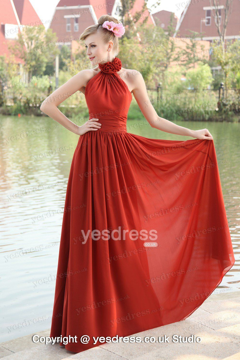 Yesbrides offers high quality retro dark red high neck