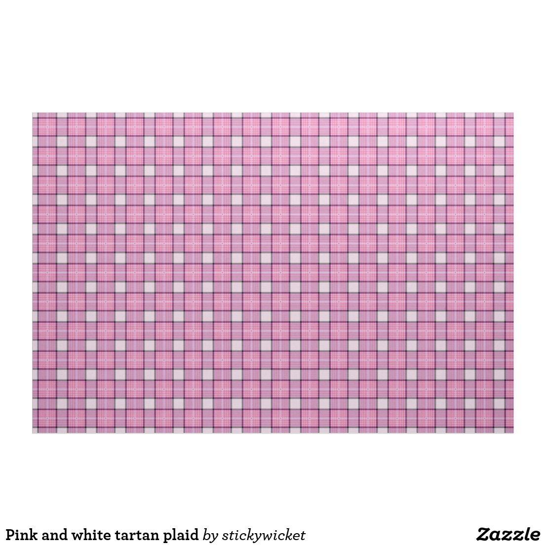 Pink and white tartan plaid fabric Plaid fabric, Custom