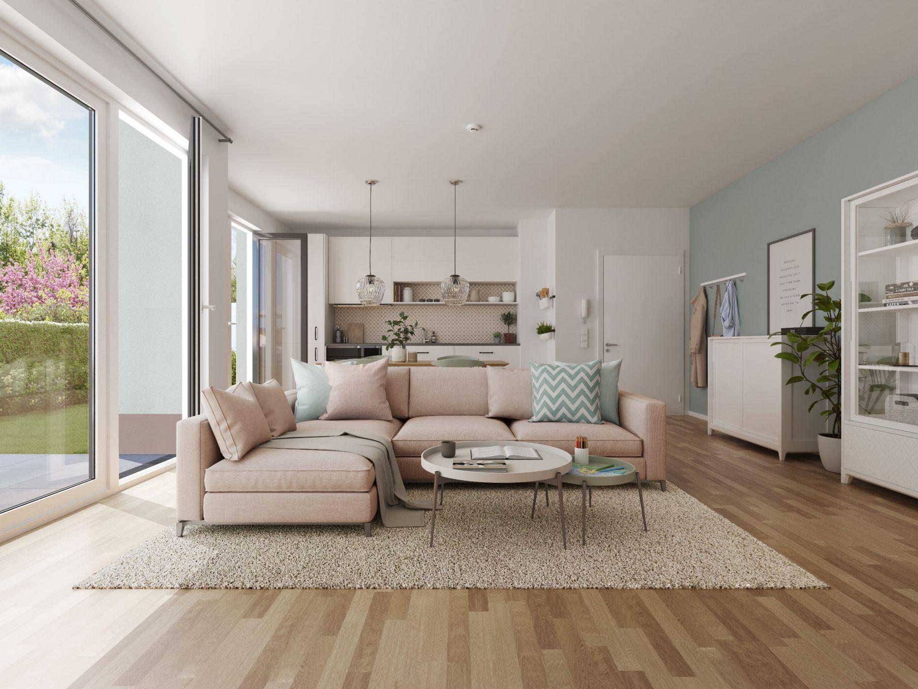 Wohntraum, Wohnzimmer, Wohn Esszimmer, Offene Küche, Wohntrend 2018,  Wohnzimmer Pastell