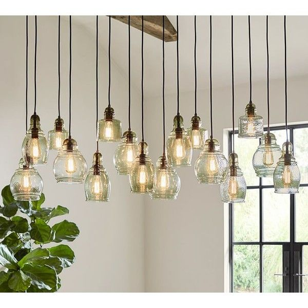 Pottery barn paxton glass 16 light pendant 979 ❤ liked on polyvore featuring