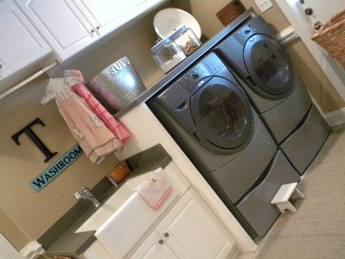 The Height Between Countertop And Washing Machine Top When Raised On A Pedastal M Laundry Room Storage Laundry Room Design Small Laundry Room Organization