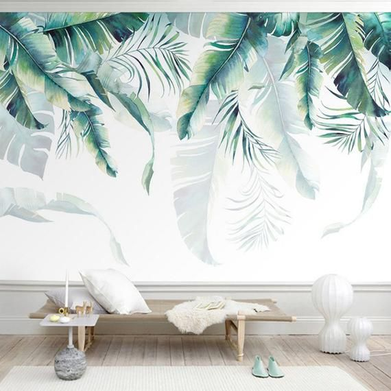 Watercolor Hand Painted Hanging Tropical Leaves Wallpaper