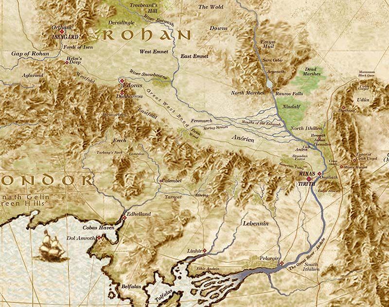Rohan Map Mittelerde Herr Der Ringe Erde