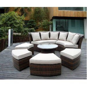 Outdoor Patio Wicker Furniture Round Couch Set Barbie S Dream