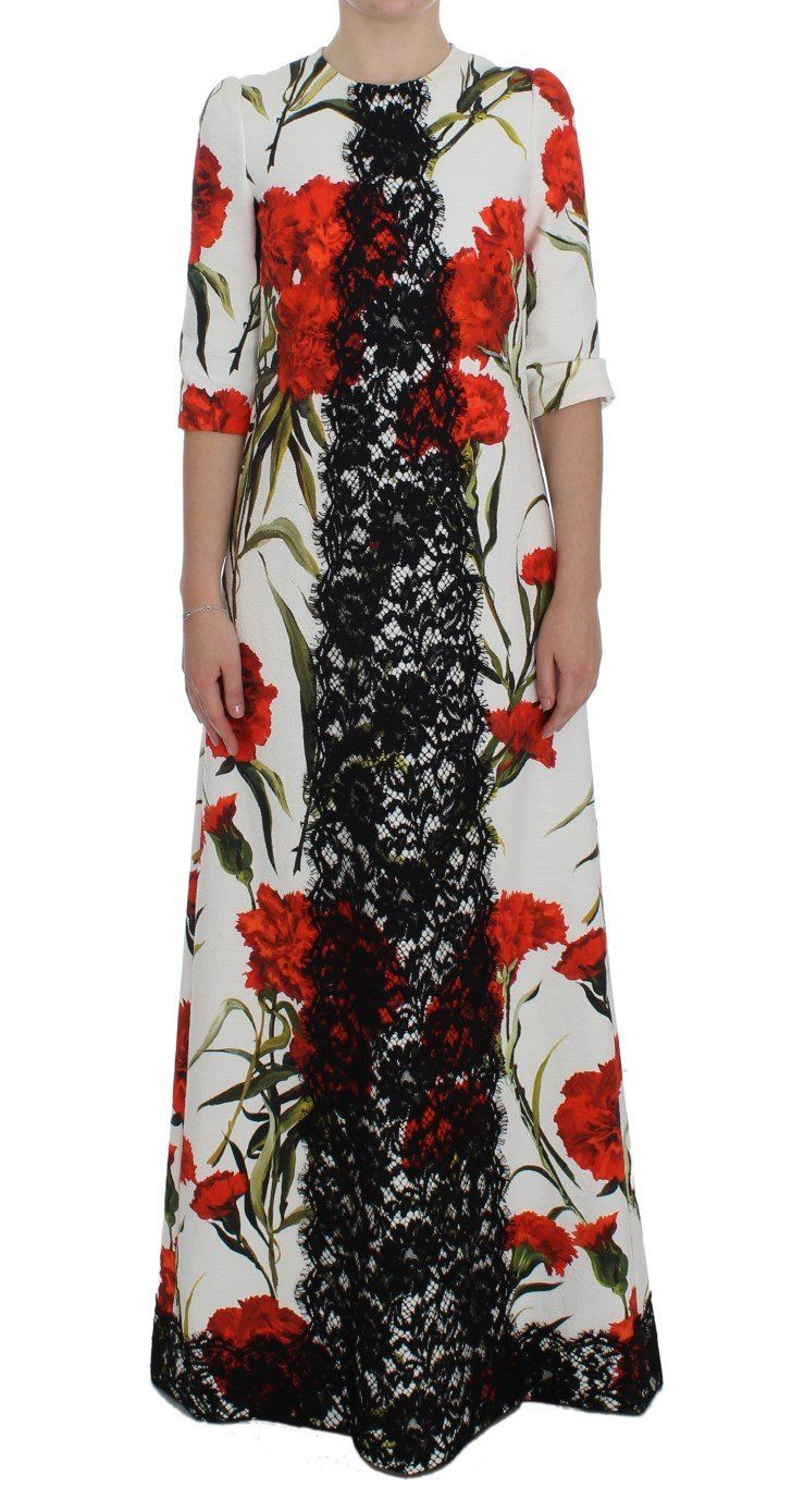Red roses print black lace stretch dress products pinterest