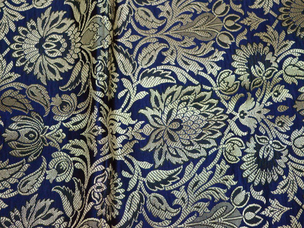 Crafting  Costume  Wedding Dress Fabric Brocade Fabric by the Yard Banarasi Brocade Fabric Navy Blue Gold Brocade Indian Fabric