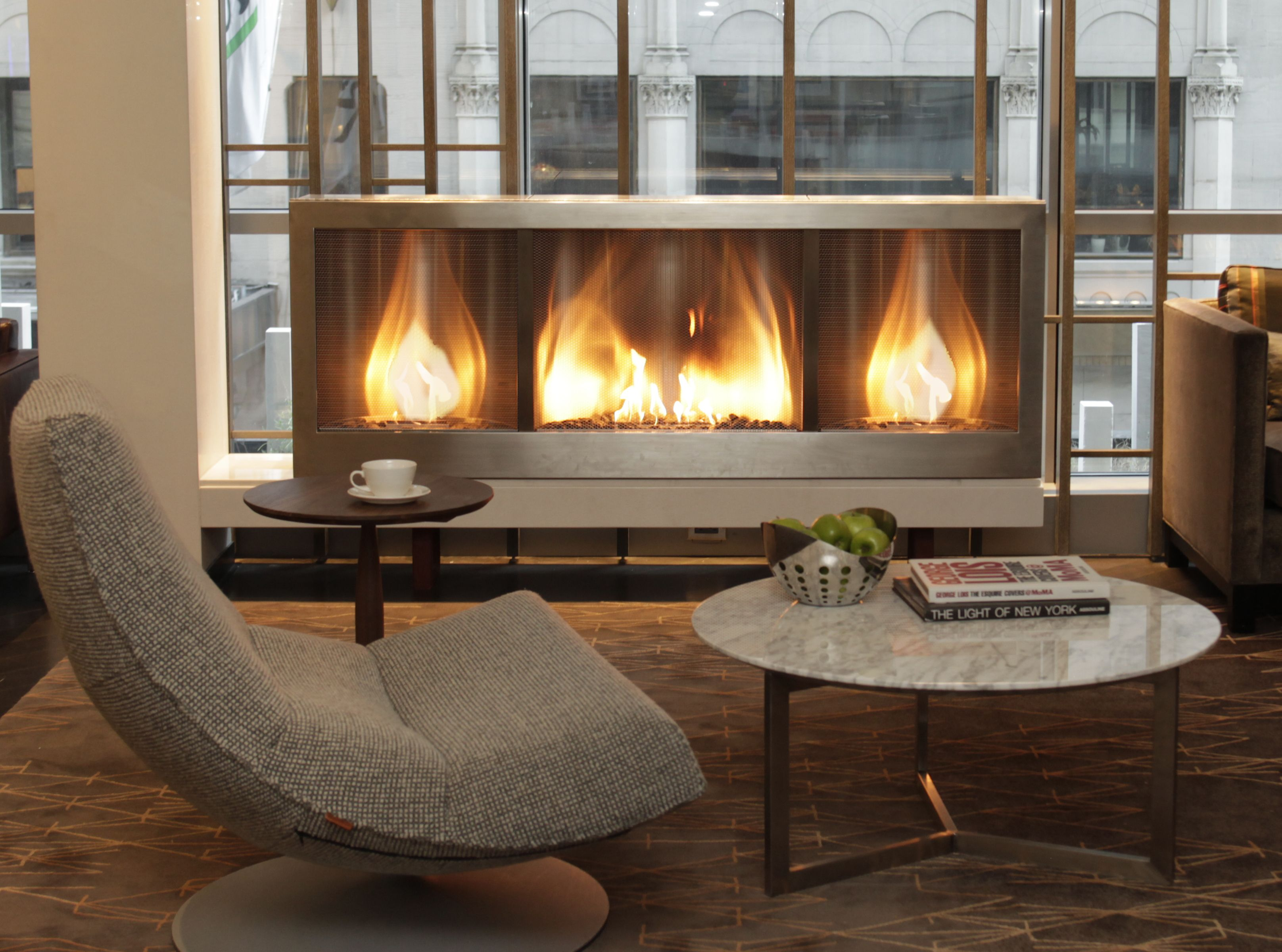 Custom Long Stainless Steel Hearth Cabinet Ventless Fireplace