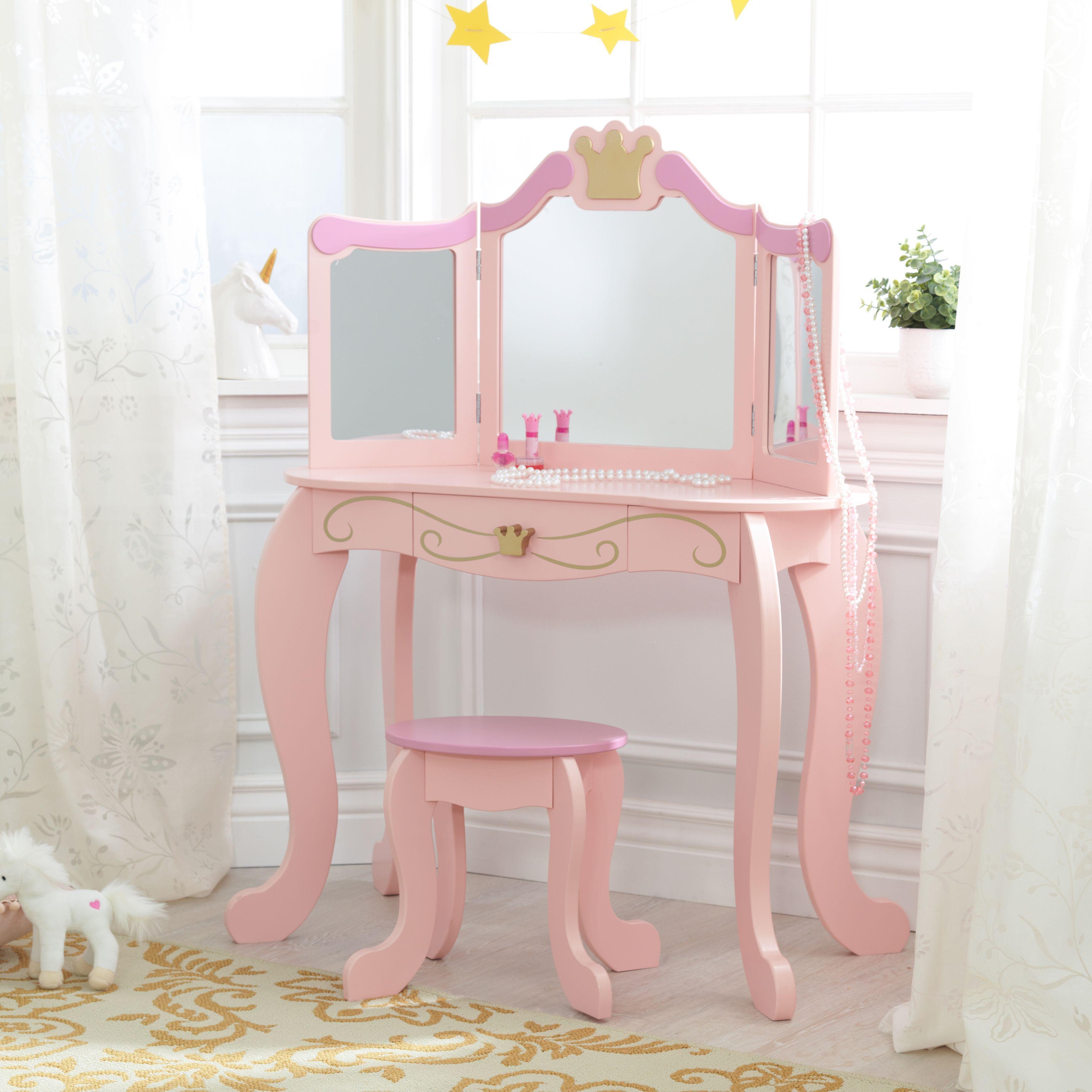 Kidkraft Princess Vanity Stool Walmart Com Kidkraft Princess
