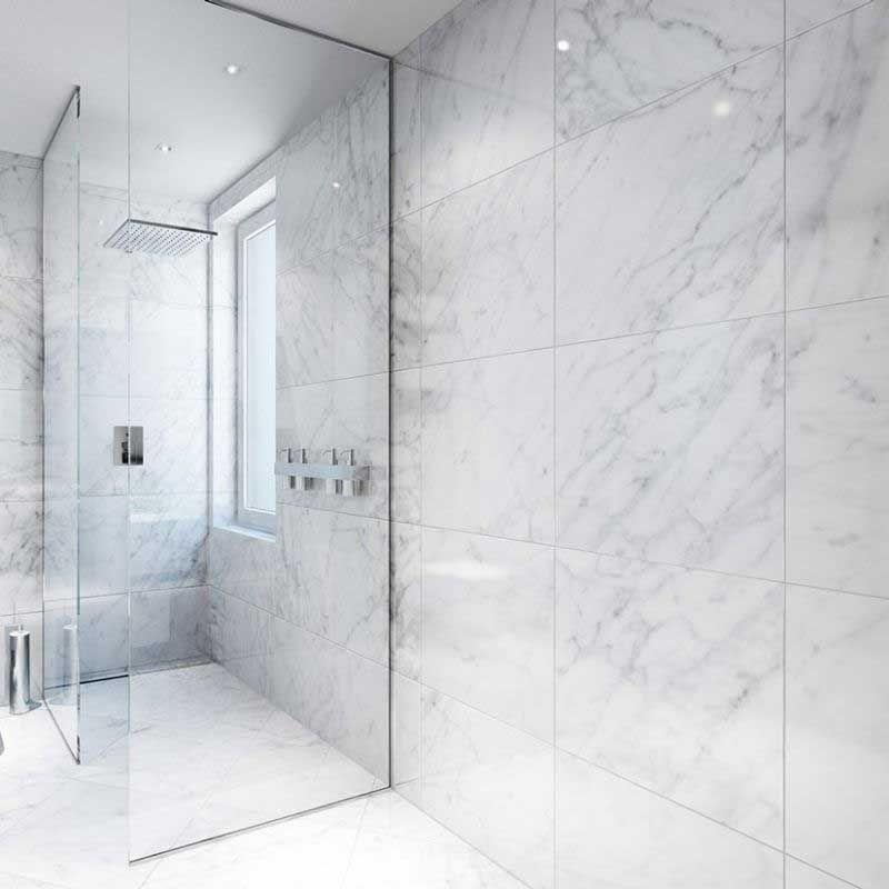 Carrelage Sol Mur 60x120 Cm Marbre Blanc Brillant Niloka Vannaya Interer