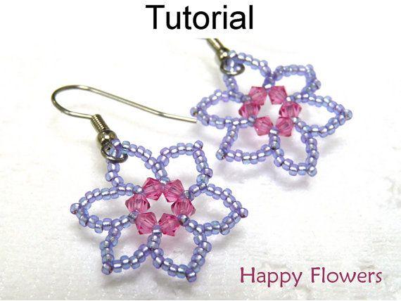 Beading Tutorial Pattern Easy Beginner Jewelry Making Beaded Earrings Flower Jewelry Simple Bead Patterns Happy Flowers 417 Jewelry Patterns Beaded Jewelry Patterns Earring Patterns