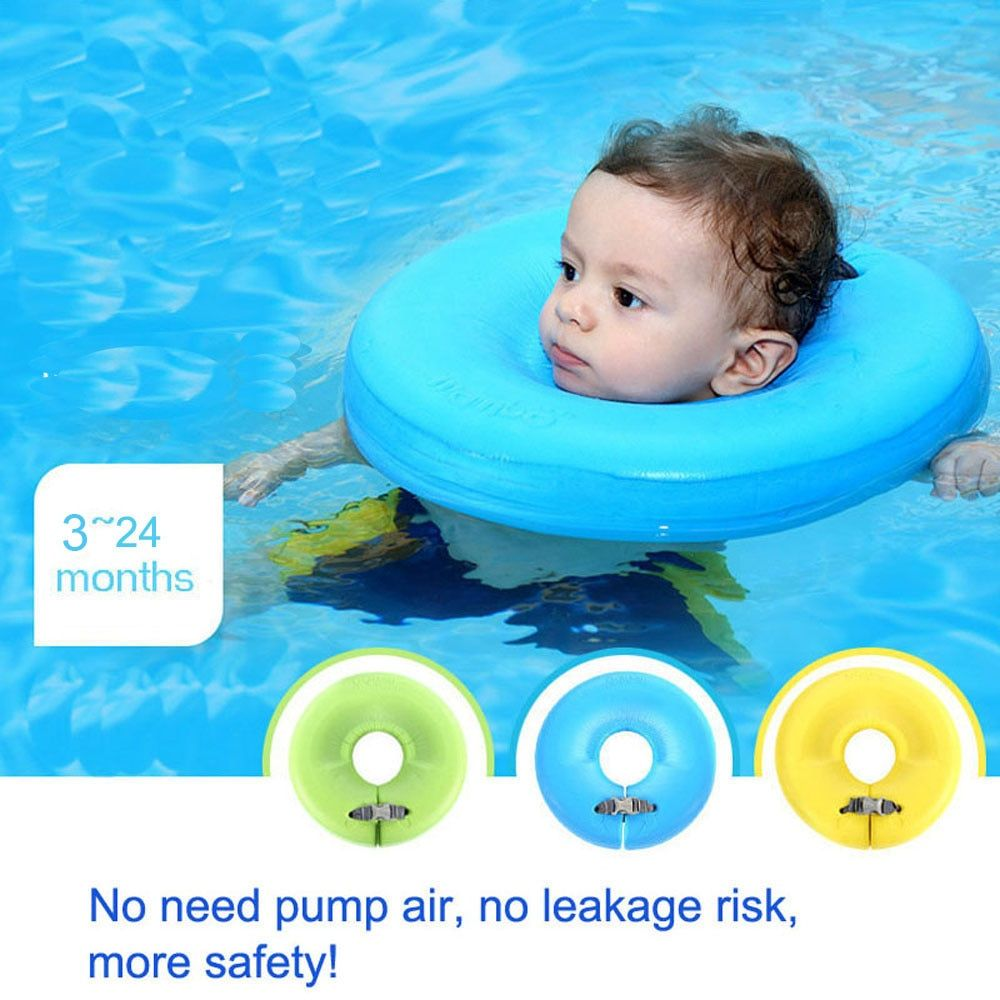 Baby Non Inflatable Neck Swim Ring More Safety Swimtrainer No Need Pump Air Free Inflatable Swim Ring Baby Bath Toy Neck Ring Baby Bath Toys Swimming Pool Accessories Baby Neck Float