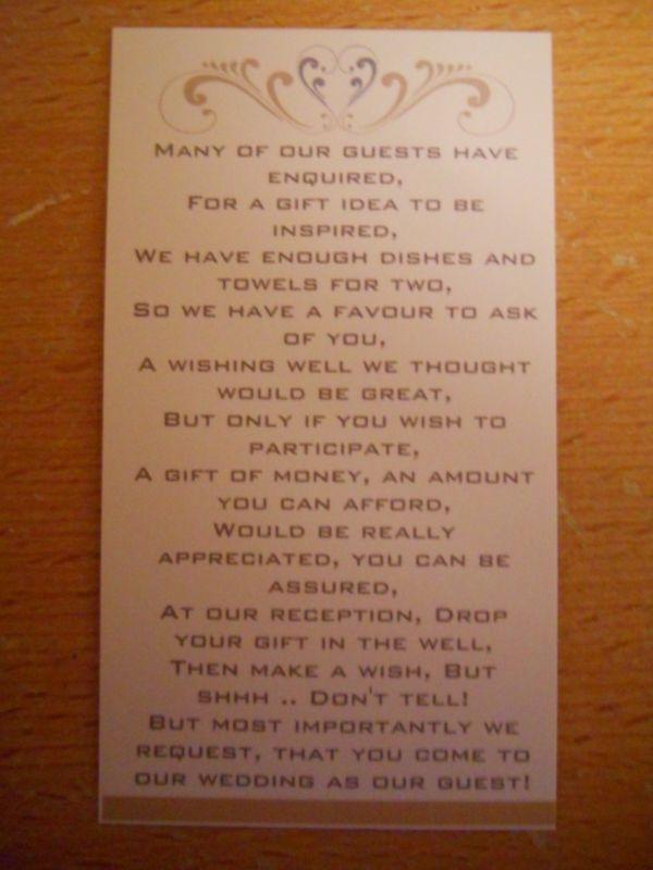25 Money Request Wishing Well Wedding Day Gift Poem Cards EBay Wedding Wishing Well