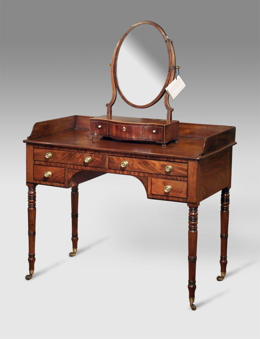 Recent purchases now in - Regency mahogany dressing table, gallery top over  two long drawers - Recent Purchases Now In - Regency Mahogany Dressing Table, Gallery