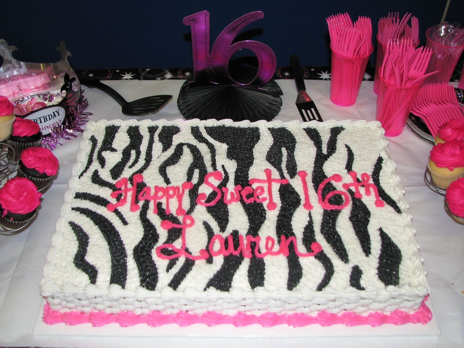 PinkZebraBirthdayCake Birthday Cake with Zebra and Hot Pink