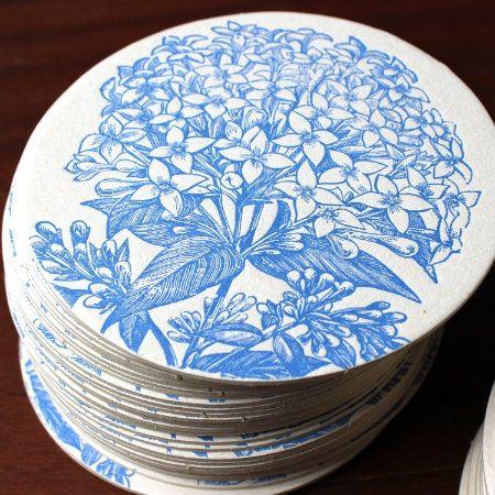 Image of Letterpress Blue Hydrangea Coasters