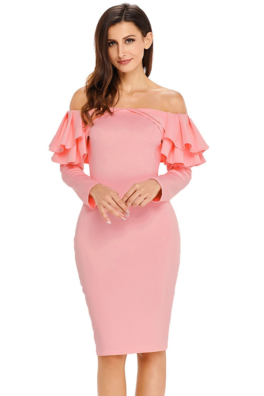 Pink ruffle off the shoulder long sleeve bodycon dress damen