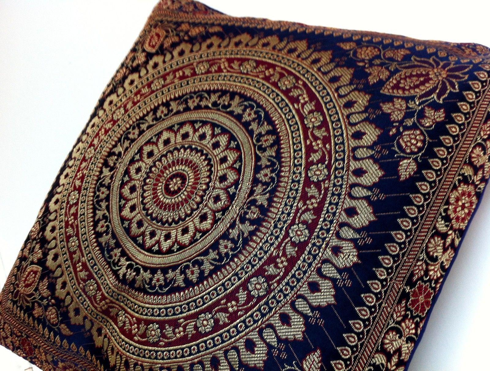 Navy Blue Cushion Covers Brocade Indian Scatter Mandala Sofa