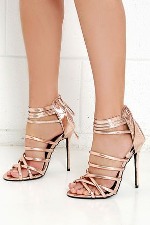 Lift Your Spirits Rose Gold Caged Heels | Gold, Prom and Rose