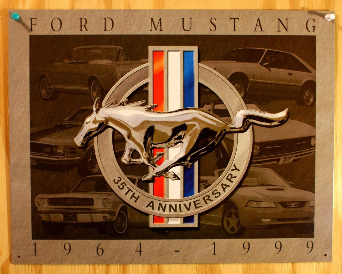 """Ford Mustang 22/"""" Round Metal Sign"""