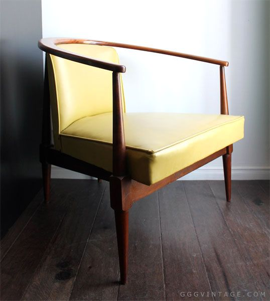 MID CENTURY MODERN SCULPTURAL WOOD + LIME GREEN LOUNGE ...