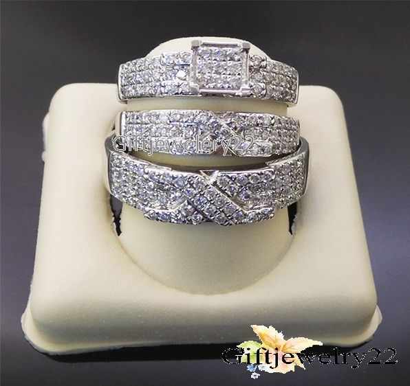14k white gold his hers diamond band engagement bridal wedding trio ring set - Ebay Wedding Ring Sets
