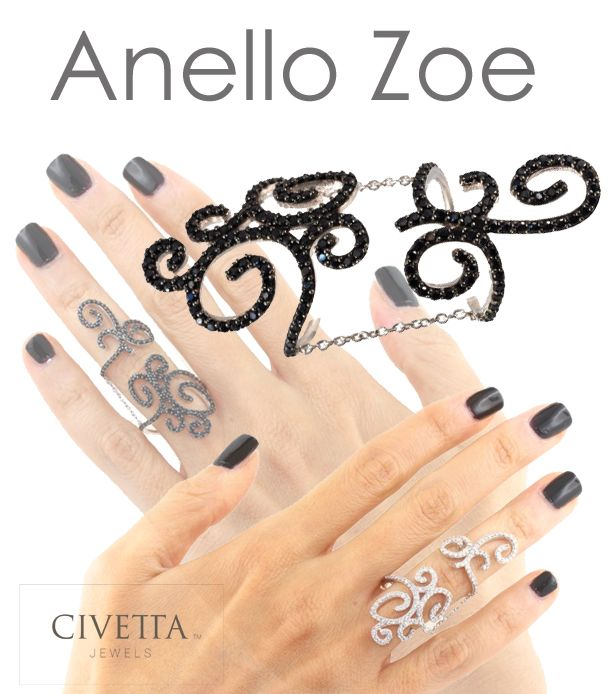 ZOE is a funny, delicate ring. You can admire it along your finger and wear it comfortably thanks to the small chains, that allow you free movement. You can have it in black or withe. Only on: http://www.civettajewels.it/store/it/home/128-anello-argento-zirconi-neri-.html#